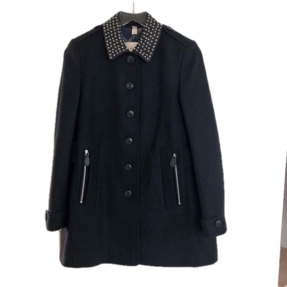 Burberry Brit Studded Collar Wool A-line Coat